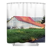 Barn With Red Roof Shower Curtain
