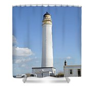Barns Ness Lighthouse In Summer Shower Curtain
