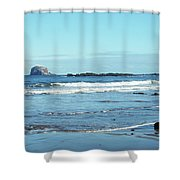 Bass Rock And Beach At North Berwick Shower Curtain