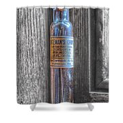 Antique Mccormick And Co Baltimore Md Bateman's Drops Opium Bottle Shower Curtain by Marianna Mills