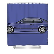 Bavarian E36 3-series M-drei Coupe Techno Violet Shower Curtain
