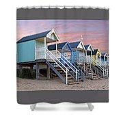 Beach Huts Sunset Shower Curtain