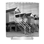 Beach Huts Sunset In Black And White Shower Curtain