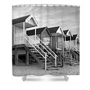 Beach Huts Sunset In Black And White Square Shower Curtain