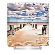 Beach Perpective Shower Curtain