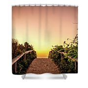 Path Over The Dunes At Sunrise. Shower Curtain by Jeff Sinon