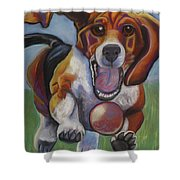 Beagle Chasing Ball Shower Curtain