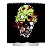 Bearded Zombie Undead With Beard Halloween Party Dark Shower Curtain