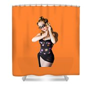 Beautiful 1950s Pinup Woman Listening To Sea Shell Shower Curtain