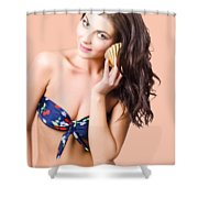 Beautiful Beach Babe Over Studio Background Shower Curtain