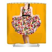 Beautiful Dancing Woman In Retro Red Dress Shower Curtain