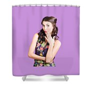 Beautiful Girl With Red Lips Expressing Surprise Shower Curtain