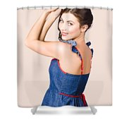 Beautiful Pin Up Woman. Rockabilly Retro Fashion Shower Curtain