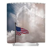 Beautifully Waves - U S Flag And Clouds Shower Curtain