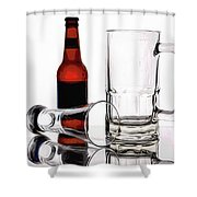 Beer Bottle And Glasses Shower Curtain