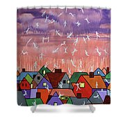 Being Caught Up In Slow Motion Thessalonians 14 16-18 Shower Curtain by Anthony Falbo
