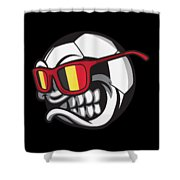 Belgium Angry Soccer Ball With Sunglasses Fanshirt Shower Curtain