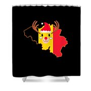 Belgium Christmas Hat Antler Red Nose Reindeer Shower Curtain