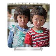 Bhutan Twins Shower Curtain