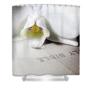 Bible With White Orchid Shower Curtain