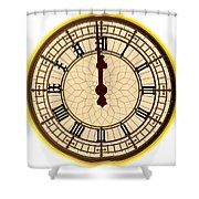Big Ben Midnight Clock Face Shower Curtain