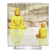 Big Buddha, Little Buddha Shower Curtain