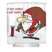 Big Fat Santa And Tiny Chimney Shower Curtain