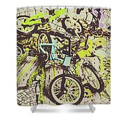 Bikes And City Routes Shower Curtain