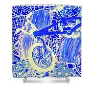 Biking Blue Shower Curtain