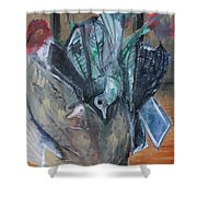 Birds In Flowers Shower Curtain