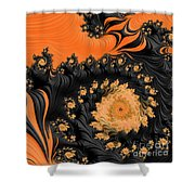 Black And Orange  Swirls Shower Curtain
