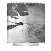 Black And White Aerial View Of Downtown San Francisco With Sun R Shower Curtain