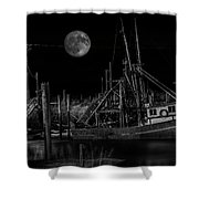 Black And White Art Fishing Boat And Full Moon Shower Curtain
