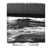 Black And White Beach 7- Art By Linda Woods Shower Curtain