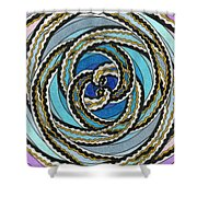 Black And White Fractal Design, Multicolored Background Shower Curtain