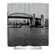 black and white panorama of Vancouver from plaza of nations showing the beautiful city Shower Curtain