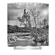 Black And White Photograph Of Link Falls At Bull Creek District Park Greenbelt - Austin Texas Shower Curtain