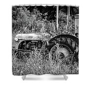 Black And White Tractor Shower Curtain