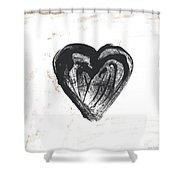 Black Heart- Art By Linda Woods Shower Curtain