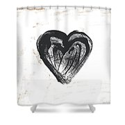 Black Heart- Art By Linda Woods Shower Curtain