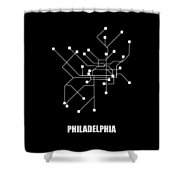 Black Philadelphia Subway Map Shower Curtain