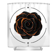 Black Rose - Black And Gold Rose - Death - Minimal Black And Gold Decor - Dark Shower Curtain