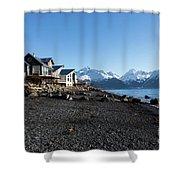 Black Sand Beach In Seward Alaska Shower Curtain