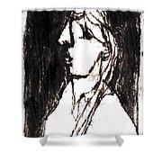 Black Side Portrait Shower Curtain