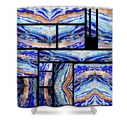 Blue Agate Mosaic Watercolor Collage Shower Curtain