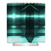 Blue Aluminum Surface. Metallic Fashion Geometric  Background Shower Curtain