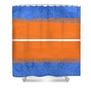 Blue And Orange Abstract Theme Iv Shower Curtain