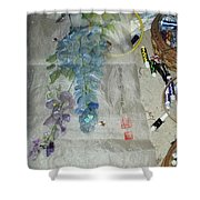 Blue Bird And Wisteria Shower Curtain