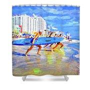 Blue Board Fast Into Ocean Shower Curtain