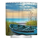 Blue Boat At Dawn Shower Curtain